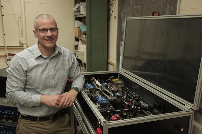 Prof. Rothamer with pulse-burst laser